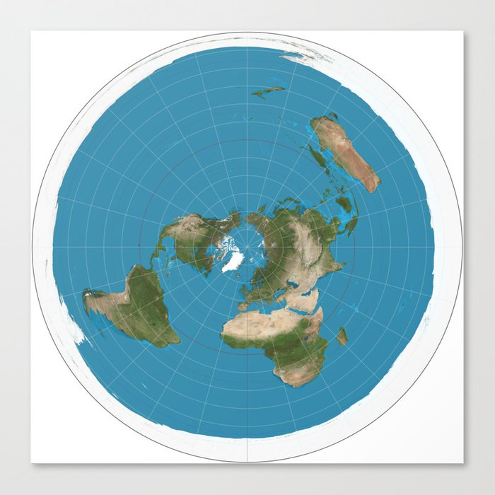 Flat Earth Map Canvas Print by jacklarson | Society6
