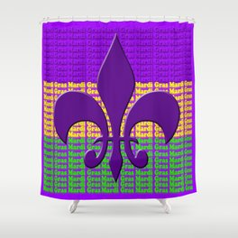 Mardi Gras  tri color with Fleur de lis Shower Curtain