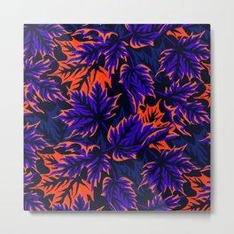 Leaves - Blue/orange Metal Print