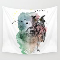 owl Wall Tapestries featuring owl  by mark ashkenazi
