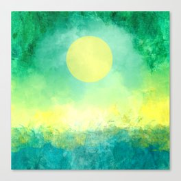 Yellow Moon, Emerald Sky, Blue Water Canvas Print