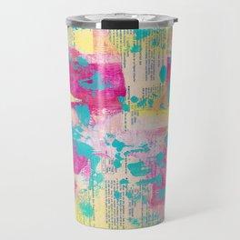 Abstract Mixed Media - Neon Travel Mug