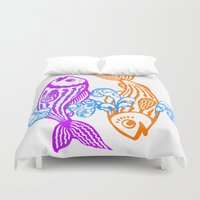zodiac Duvet Covers featuring Zodiac - Pisces by Rebelot
