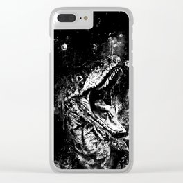velociraptor dinosaur close up wsbw Clear iPhone Case