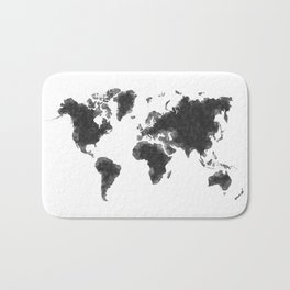 World Map Black Sketch, Map Of The World, Wall Art Poster, Wall Decal, Earth Atlas, Geography Map Bath Mat