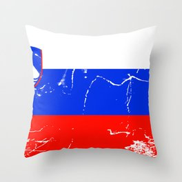 Slovenia flag with grunge effect Throw Pillow