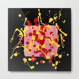 Paint Dance Pink Square Yellow Red on Black Metal Print