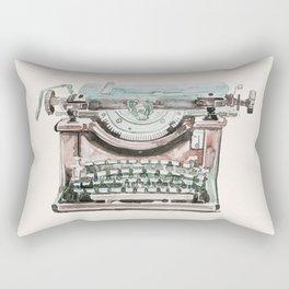 Vintage Typewriter Watercolor II Rectangular Pillow