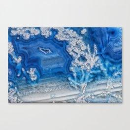 Blue whte agate crystal Canvas Print