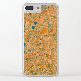MADRID warm rich tones ochre orange blue abstract dot design Clear iPhone Case