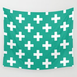 Emerald and White Plus Signs  Wall Tapestry