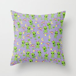 Purple Pastel Goth Aliens - More Green Men Throw Pillow