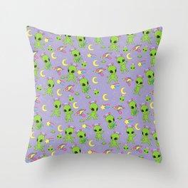 Purple Pastel Goth Aliens - More Green Men Throw Pillow