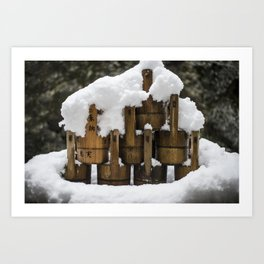 Kyoto Winter 2015 III (water buckets)  Art Print