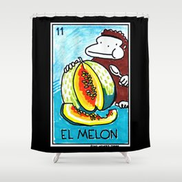 Loteria Ape #11: El Melon Shower Curtain