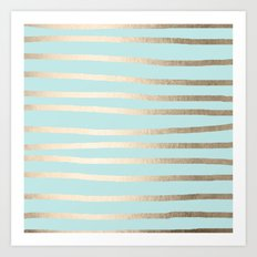 Simply Drawn Stripes White Gold Sands on Succulent Blue Art Print