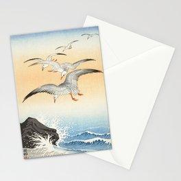 5 Gulls Flying Over The Ocean Vintage Illustration Stationery Cards