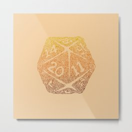 d20 - 70s vibe over tan - icosahedron Metal Print