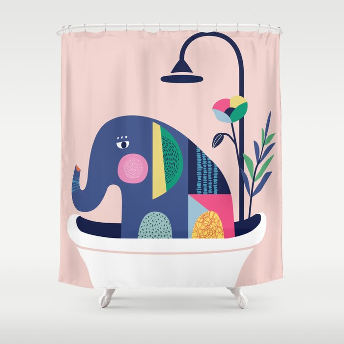 Elephant in the tub Shower Curtain