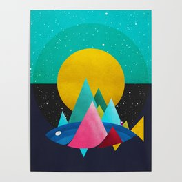 047 Owly travelling through vast cosmic sea Poster