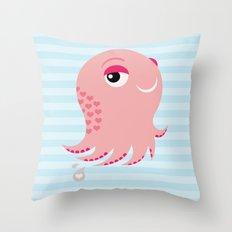 Squid of Love Throw Pillow