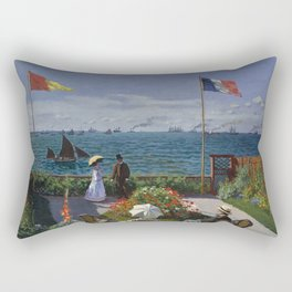 Garden at Sainte-Adresse by Claude Monet Rectangular Pillow