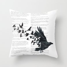 Vintage Style Print with Poem Text Edgar Alan Poe: Edgar Alan Crow Throw Pillow