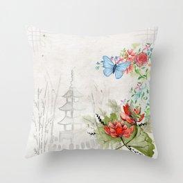 Oriental Rice Paper Garden Throw Pillow