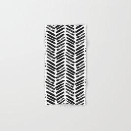Simple black and white handrawn chevron - horizontal Hand & Bath Towel
