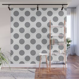 Grey Large Polka Dots Pattern Wall Mural