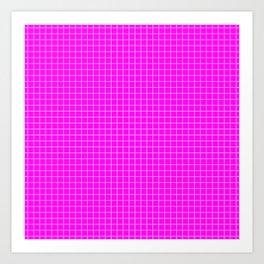 Pink Grid White LIne Art Print