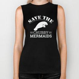 Save The Chubby Mermaids Manatees Biker Tank