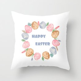Happy Easter Wreath Colorful Eggs and Easter Flowers on White Throw Pillow