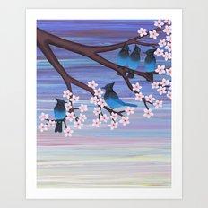 Steller's jays and cherry blossoms Art Print