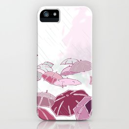 Rainy day in pink iPhone Case