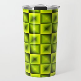 Fashionable large glare from small yellow intersecting squares in gradient dark cage. Travel Mug