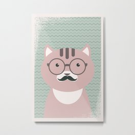 Clever Cat cute pet hippster moustache character Metal Print