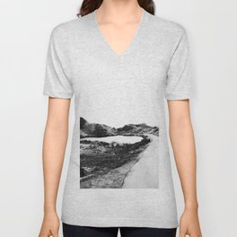 Road through Fairy Glen - B/W Unisex V-Neck