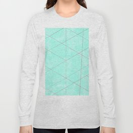 Geometrical rose gold teal abstract watercolor Long Sleeve T-shirt