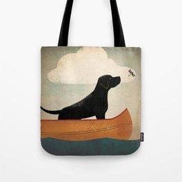 Black Lab Labrador Retriever Dog Canoe Ride Tote Bag