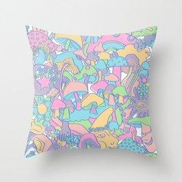 Magical Mushroom World in Kawaii Pastel Throw Pillow