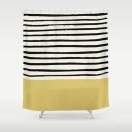 Daffodil Yellow x Stripes Shower Curtain