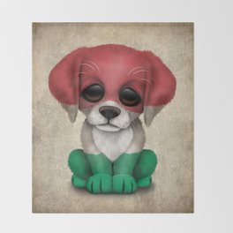 Cute Puppy Dog with flag of Hungary Throw Blanket