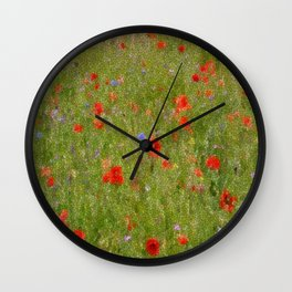 Field of Poppies (in mosaic) Wall Clock
