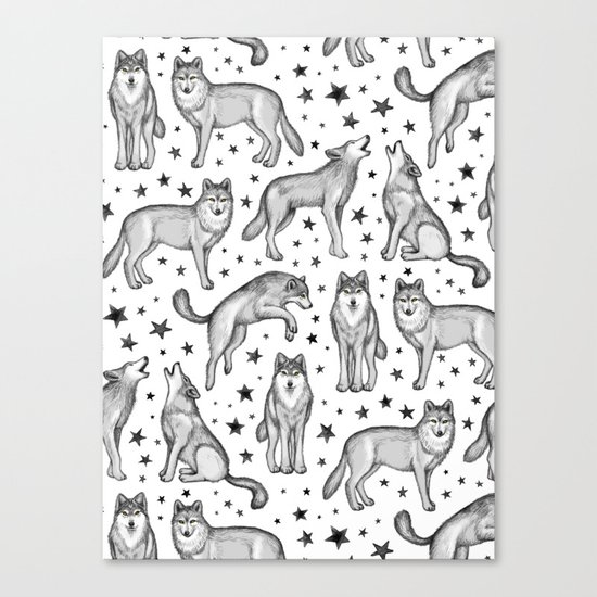 Wolves and Stars on White Canvas Print