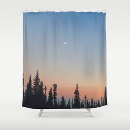 High Moon over Silhouetted Trees at Dusk Shower Curtain