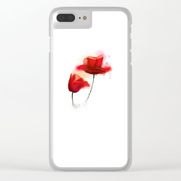 Red Poppy watercolor painting Clear iPhone Case