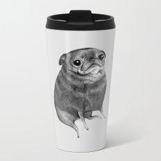 Sweet Black Pug Metal Travel Mug