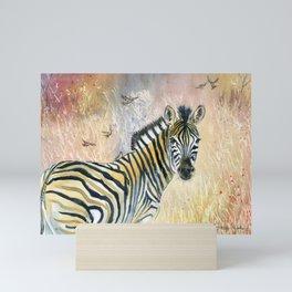 Zebra in Rainbow Savanna Mini Art Print