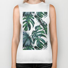 Tropical Palm Leaves Classic on Marble Biker Tank